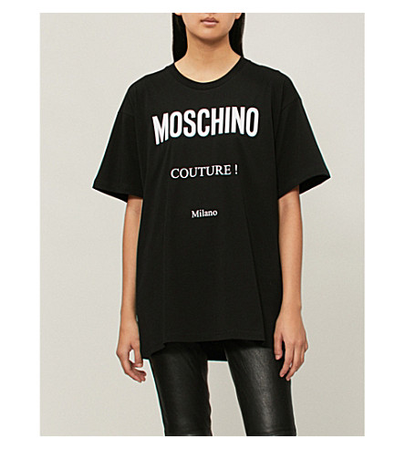 jersey con algodón costura MOSCHINO estampado de de punto Camiseta de negra qqrY7tx