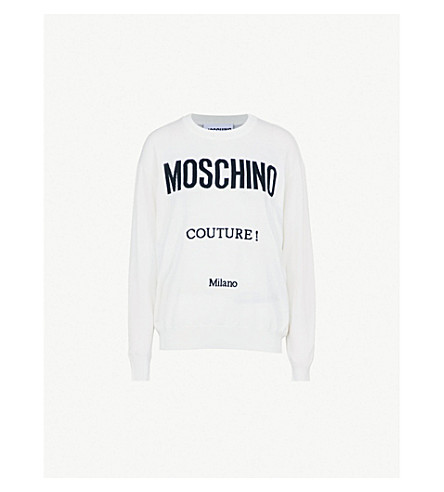 MOSCHINO Couture logo-print wool jumper (White