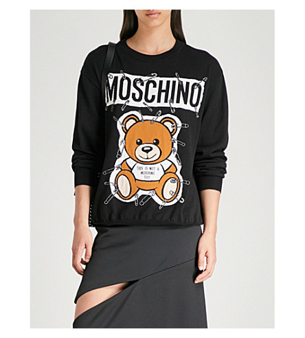 MOSCHINO MOSCHINO cotton jersey jumper motif Teddy cotton Teddy motif Black jersey CAqfW