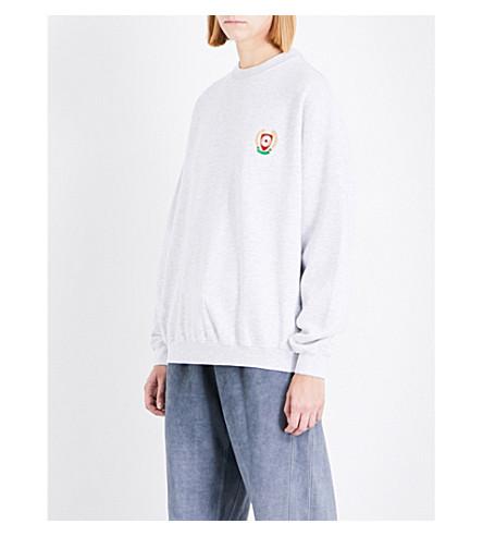 YEEZY Season 5 badge-detail cotton-jersey sweatshirt (Teal