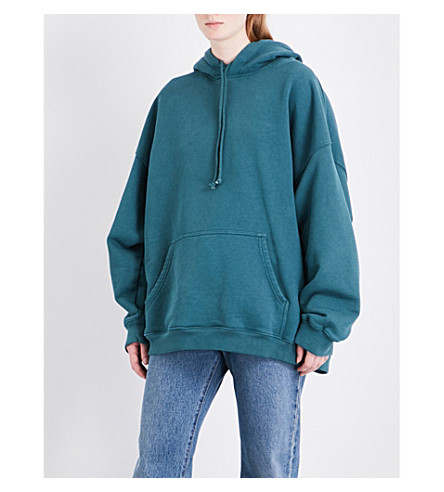 YEEZY Season 5 oversized cotton-jersey hoody (Teal