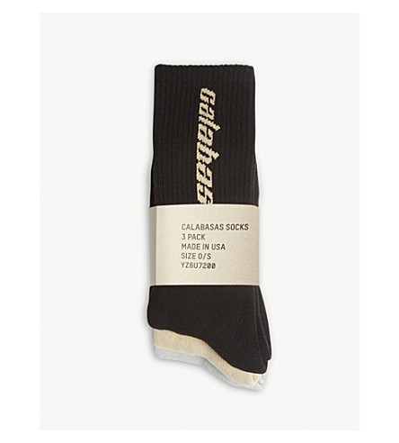 YEEZY Calabasas crew cotton-blend socks pack of three (Multi