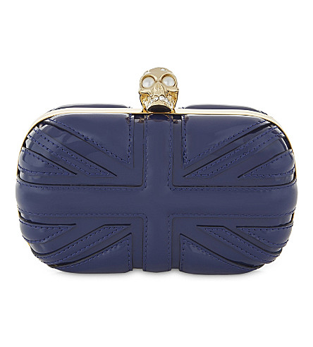 ALEXANDER MCQUEEN Britannia patent-leather box clutch (Navy