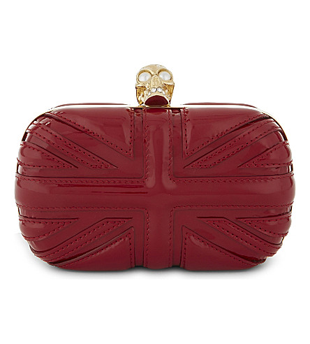 ALEXANDER MCQUEEN Britannia patent-leather box clutch (Ruby+red