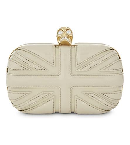 ALEXANDER MCQUEEN Britannia patent-leather box clutch (Ivory