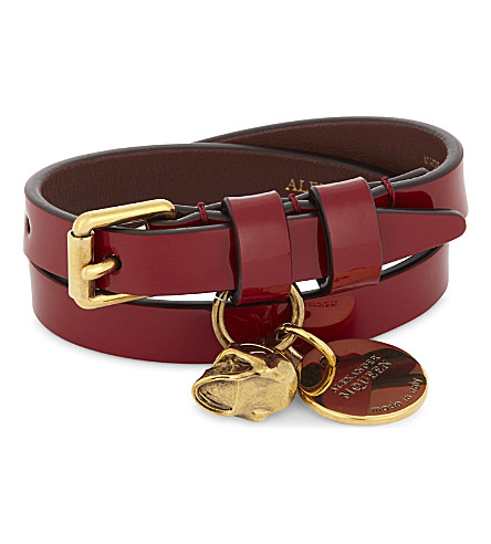 ALEXANDER MCQUEEN Skull patent leather double-wrap bracelet (Ruby+red