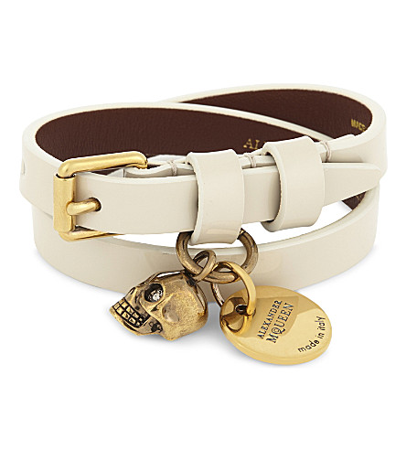 ALEXANDER MCQUEEN Skull patent leather double-wrap bracelet (Ivory