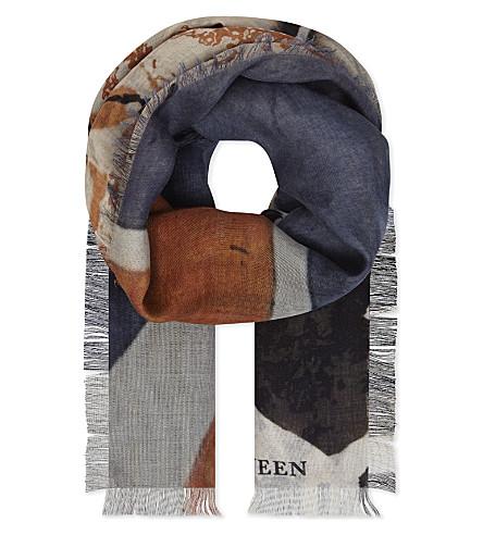 ALEXANDER MCQUEEN 联合杰克丝绸混纺围巾 (多