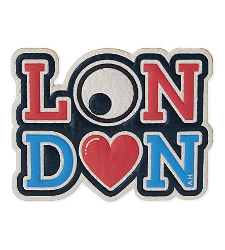 ANYA HINDMARCH London heart logo leather sticker (White+capra