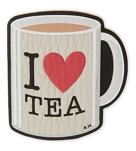 ANYA HINDMARCH 'I love tea' leather sticker (White+capra