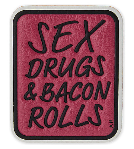 ANYA HINDMARCH 'Sex, drugs & bacon rolls' leather sticker (Pink+capra