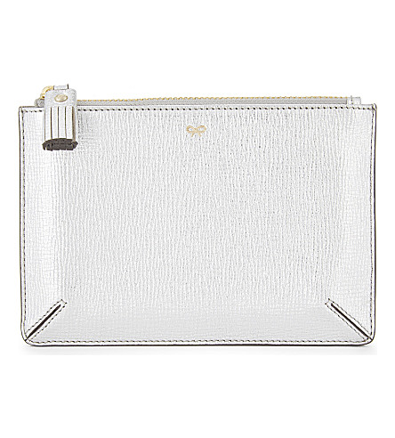ANYA HINDMARCH Small metallic leather zipped pouch (Silver metallic capra