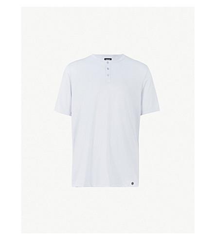 HANRO Cotton T-shirt (Stone+blue