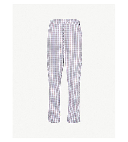 HANRO Check pattern cotton pyjama bottoms (Blue+red