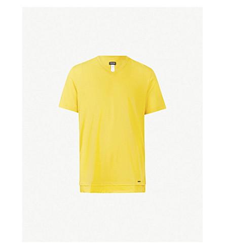 HANRO Double front hem cotton T-shirt (Yellow