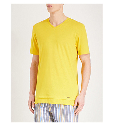 HANRO Double front hem cotton T-shirt (Yellow