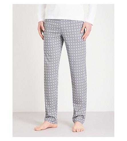 HANRO Geometric floral pattern cotton pyjama bottoms (Grey+grn