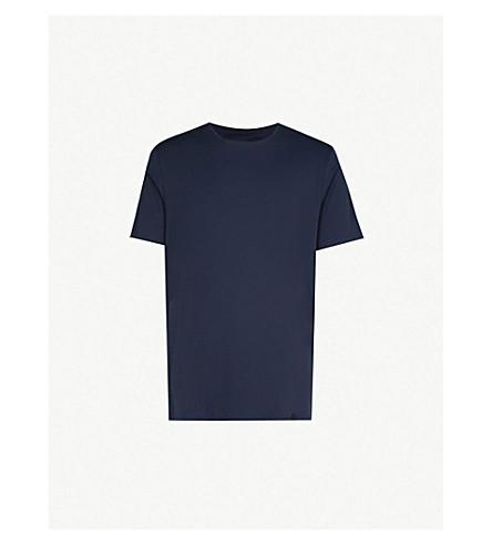 HANRO 高级圆领 T 恤 (黑 + 虹膜
