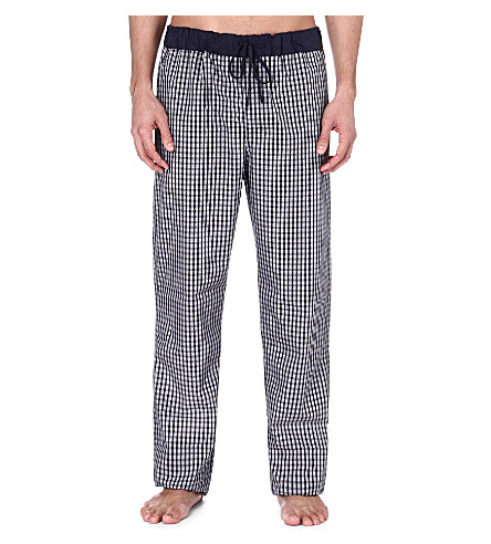 HANRO Checked cotton trousers (Black+check