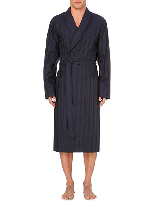 HANRO Striped cotton robe