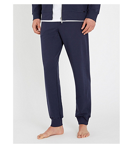 HANRO Solid cotton-jersey jogging bottoms (Navy
