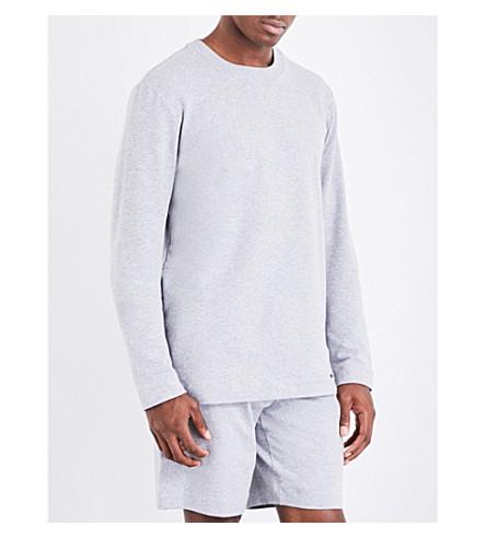 HANRO Solid cotton-jersey sweatshirt (Grey+mel