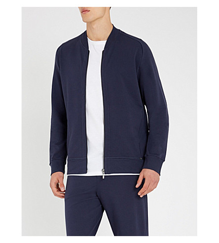 HANRO Solid cotton-jersey jacket (Navy