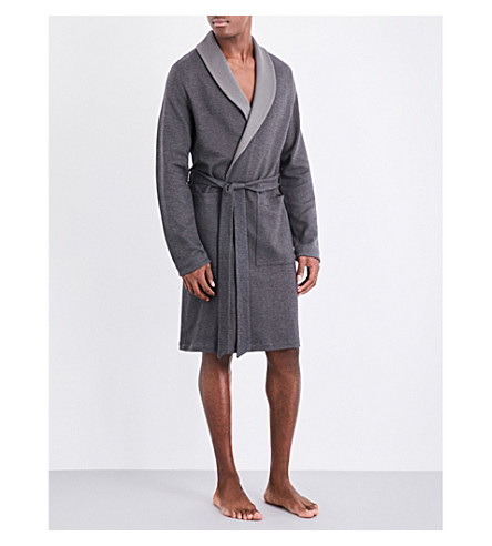 HANRO Herringbone cotton-blend robe (Charcoal
