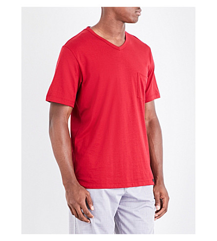 HANRO V-neck cotton t-shirt (Red