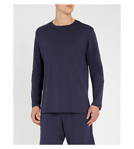 HANRO Crewneck cotton-jersey pyjama top (Navy