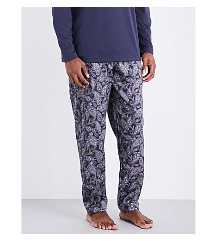 HANRO Paisley-print cotton pyjama trousers (Navy+toff