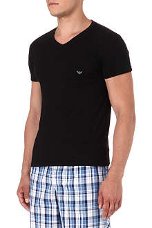 ARMANI Pure cotton logo v-neck t-shirt