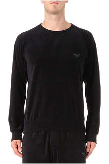 ARMANI Plain velour sweatshirt