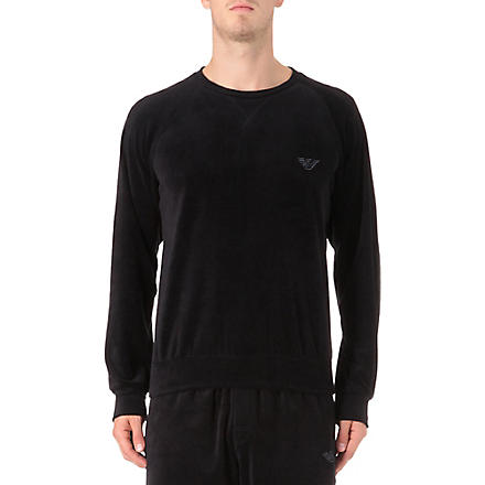 ARMANI Plain velour sweatshirt (Black