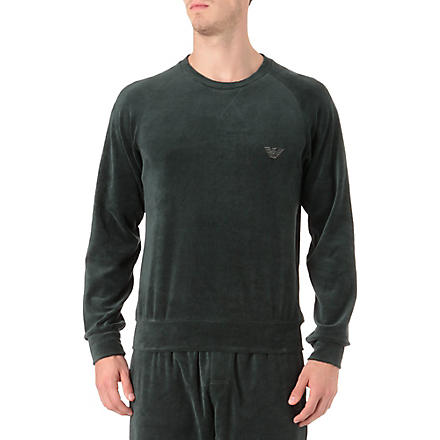 ARMANI Plain velour sweatshirt (Green