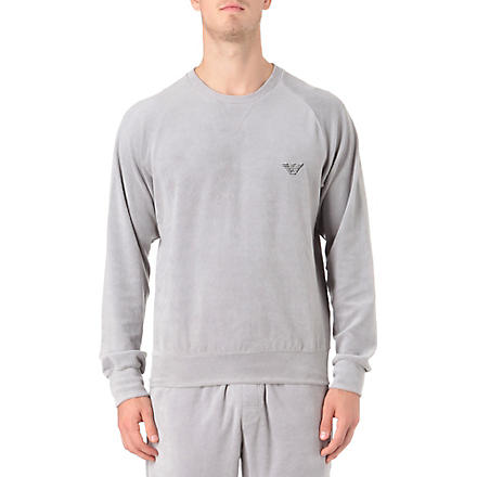 ARMANI Plain velour sweatshirt (Grey