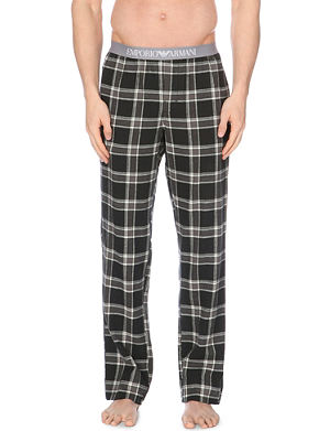 EMPORIO ARMANI Checked cotton trousers