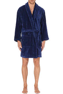 EMPORIO ARMANI Embroidered-logo cotton robe
