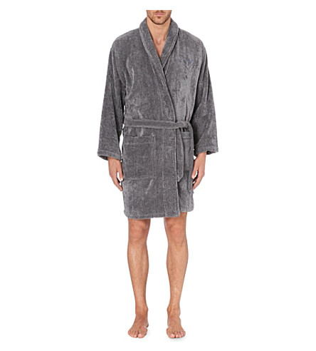 EMPORIO ARMANI Embroidered-logo cotton robe (Grey
