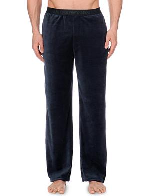 EMPORIO ARMANI Logo-waistband velour pyjama trousers