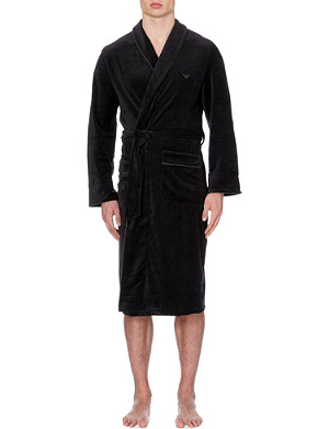 EMPORIO ARMANI Branded velour robe