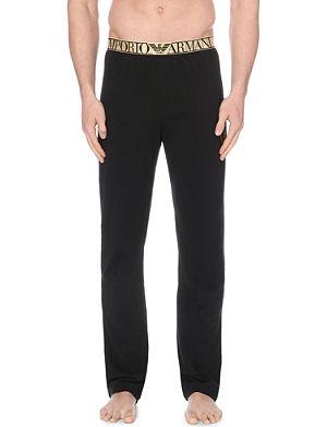 EMPORIO ARMANI Metallic-detail jersey pyjama bottoms
