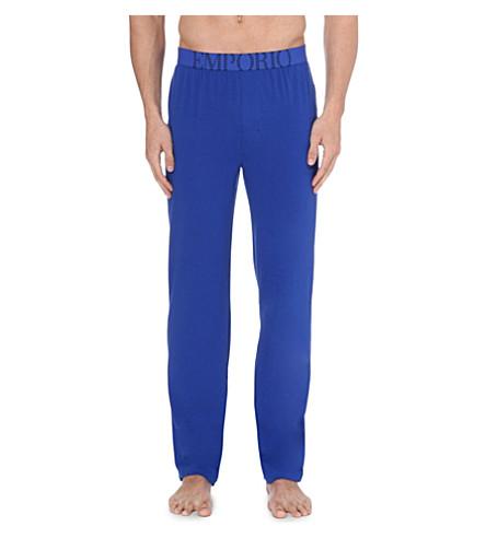 EMPORIO ARMANI Logo-waistband pyjama trousers (Blue