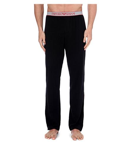 EMPORIO ARMANI Logo-waistband pyjama trousers (Black