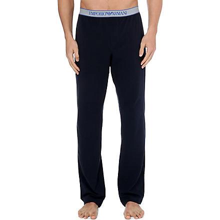 EMPORIO ARMANI Logo-waistband pyjama trousers (Navy