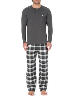 EMPORIO ARMANI Checked cotton pyjama bottoms