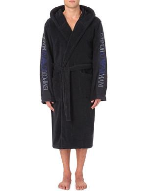 EMPORIO ARMANI Brand-embroidered cotton robe