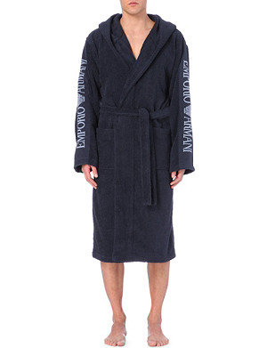 EMPORIO ARMANI Hooded towelling robe