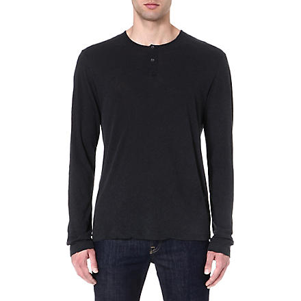 JAMES PERSE Long-sleeved henley top (Carbon