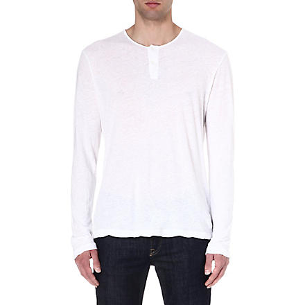 JAMES PERSE Long-sleeved henley top (White